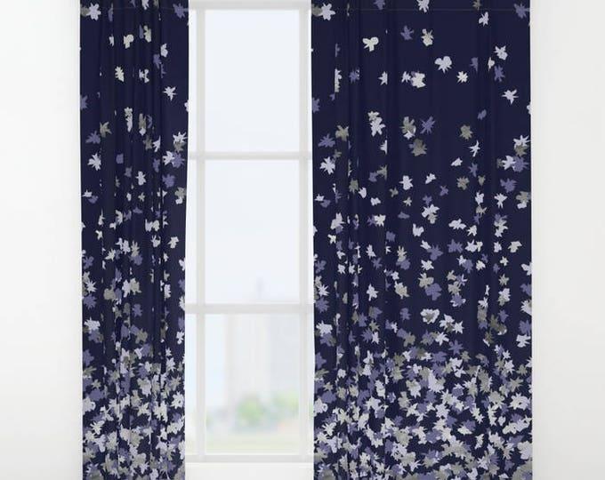 "Window Curtains - Floating Confetti Dots - Lavender Navy Blue - 50"" x 84"" - Rod Pocket - Bedroom Decor Accessories Kids Nursery Playroom"