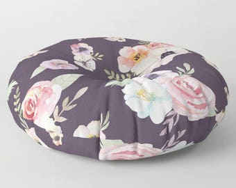 "Oversized Floor Pillow - Watercolor Floral I - Eggplant Purple Pink - Round or Square - 26"" or 30"" - Throw Poof Pouf Cushion"