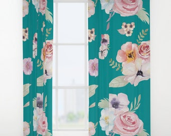 """Window Curtains - Watercolor Floral I - Teal Turquoise Pink - 50"""" x 84"""" - Rod Pocket - Bedroom Decor Accessories Kids Nursery Playroom"""