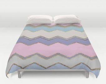 Duvet Cover or Comforter - Multi Chevron and Brushed Gold - Pink Purple Blue Beige - Twin XL Full Queen or King - Bedroom Bed