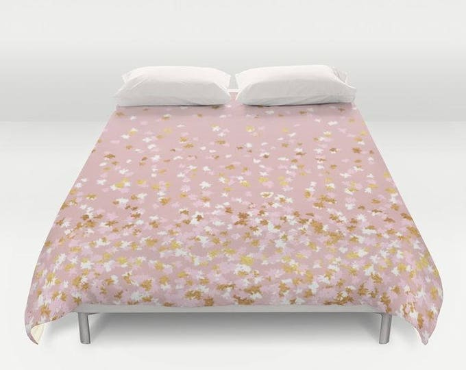 Duvet Cover or Comforter - Floating Confetti Dots - Pink Blush White Gold - Twin XL Full Queen or King - Bedroom Bed