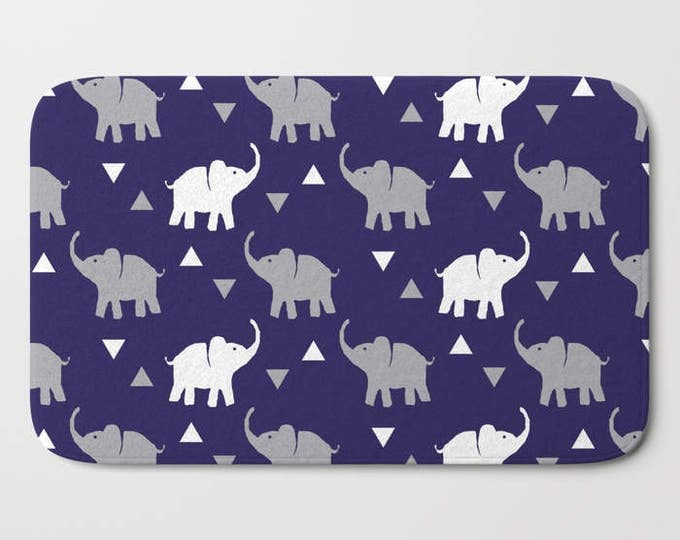 "Bath Mat - Elephants & Triangles Print - Navy Blue Gray White - 17""x24"" or 21""x34"" - Bathroom Shower Tub Decor Accessories - Kids Boys"