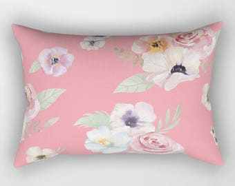 Lumbar Throw Pillow - Watercolor Floral I - Bright Pink - Rectangle Cover and Insert - 17x12 20x14 25.5x18 28x20
