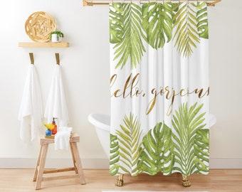 """Shower Curtain - Hello Gorgeous Palm Leaves - Green Gold White - 71""""x74"""" - Bath Curtain Bathroom Decor Accessories - Add a Bath Mat Bundle"""