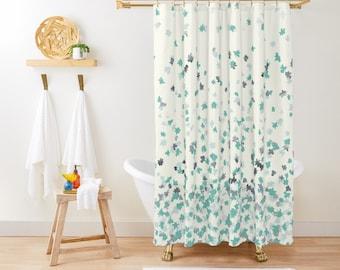 """Shower Curtain - Floating Confetti Dots - Mint Aqua Silver Cream White - 71""""x74"""" - Bath Curtain Bathroom Decor Accessories - Add a Bath Mat"""