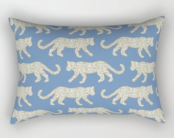Lumbar Throw Pillow - Leopard Parade - Mint Aqua Camel on Denim Blue - Rectangle Cover and Insert - 17x12 20x14 25.5x18 28x20