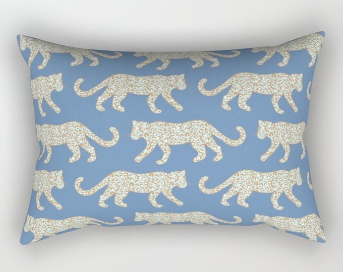 Lumbar Throw Pillow - Leopard Parade - Mint Aqua Camel on Denim Blue - Rectangle Cover and Insert - 17x12 20x14 25.5x18 28x20