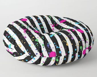 "Oversized Floor Pillow - Stripes and Paint Splatter - Black White Neon Rainbow - Round or Square - 26"" or 30"" - Throw Poof Pouf Cushion"