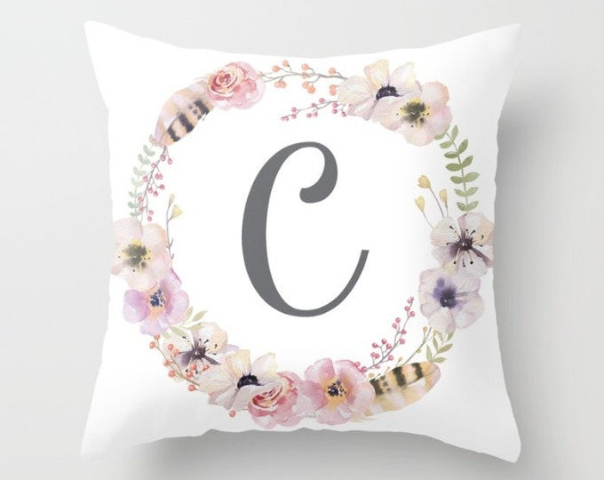 Throw Pillow - Custom Initial - Boho Floral + Feathers Wreath - Blush Pink Coral Gray Green - Square Cover w/ Insert 16x16 18x18 20x20 24x24