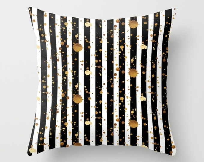 Throw Pillow - Stripes and Paint Splatter - Black White Gold - Square Cover with Insert - 16x16 18x18 20x20 24x24