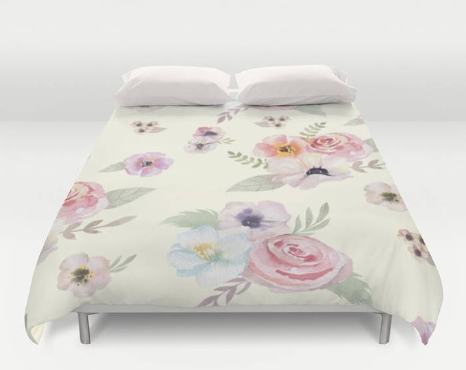Duvet Cover or Comforter - Watercolor Floral I - Cream Ivory Pink - Twin XL Full Queen or King - Bedroom Bed