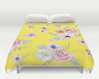 Duvet Cover or Comforter - Watercolor Floral I - Bright Yellow Pink - Full Queen or King - Bedroom Bed