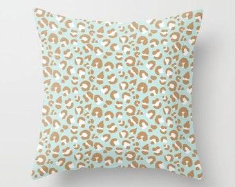 Throw Pillow - Leopard Spots - Mint Aqua Blush Pink Camel - Square Cover with Insert - 16x16 18x18 20x20 24x24