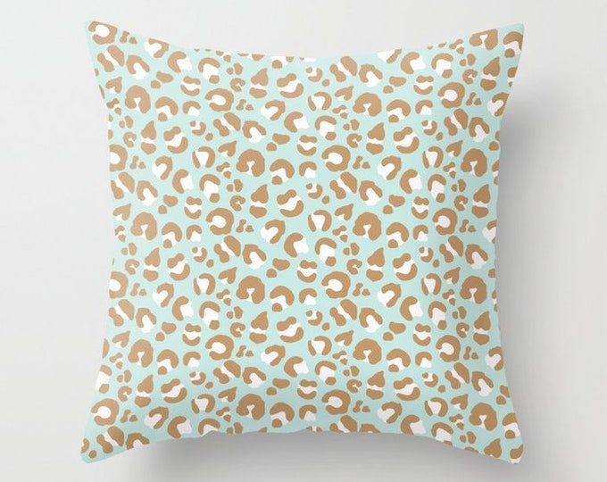 Throw Pillow - Leopard Spots - Mint Aqua Blush Pink Camel - Square Cover with Insert - 16x16 18x18 20x20 24x24