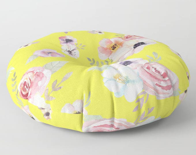 "Oversized Floor Pillow - Watercolor Floral I - Bright Yellow Pink - Round or Square - 26"" or 30"" - Throw Poof Pouf Cushion"