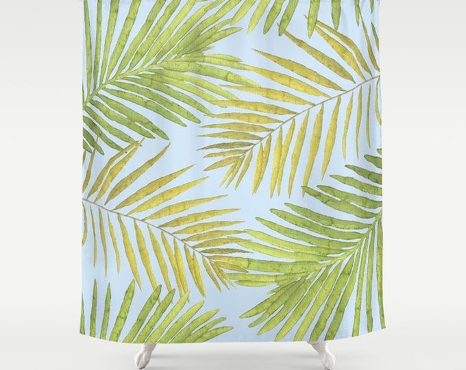 "Shower Curtain - Palms Against the Sky - Green Yellow Light Blue - 71""x74"" - Bath Curtain Bathroom Decor Accessories"