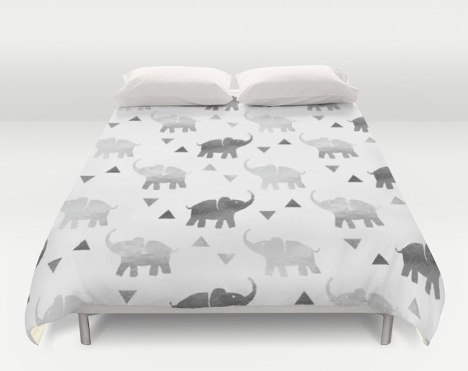 Duvet Cover or Comforter - Elephants & Triangles Print - Silver - Twin XL Full Queen or King - Bedroom Bed