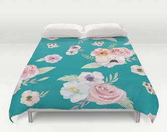 Duvet Cover or Comforter - Watercolor Floral I - Teal Turquoise Pink - Twin XL Full Queen or King - Bedroom Bed