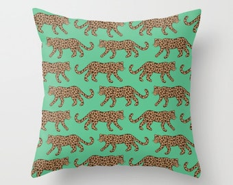 Throw Pillow - Leopard Parade - Classic Brown Tan Camel Jungle Green - Square Cover with Insert - 16x16 18x18 20x20 24x24