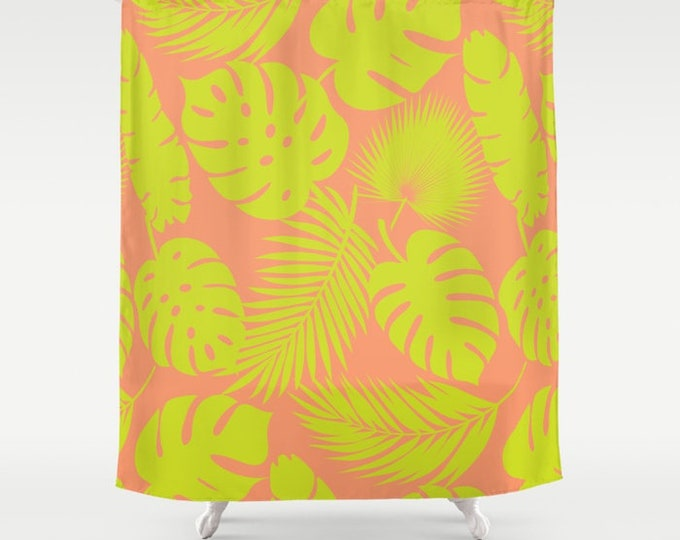 "Shower Curtain - Tropical Leaves - Lime on Coral - 71""x74"" - Bath Curtain Bathroom Decor Accessories"