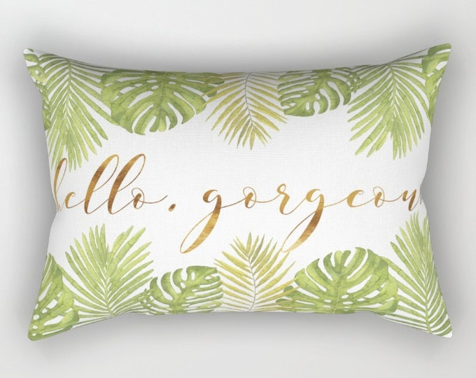Lumbar Throw Pillow - Hello Gorgeous Palm Leaves - Green Gold White - Rectangle Cover and Insert - 17x12 20x14 25.5x18 28x20