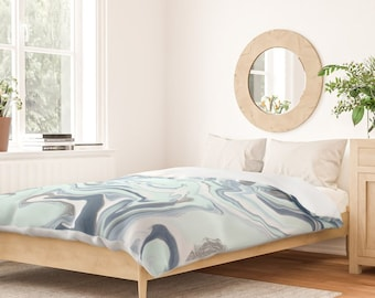 Duvet Cover or Comforter - Pastel Marble Blues - Blue Gray Mint Aqua - Twin XL Full Queen King - Microfiber or 100% Cotton - Shams Optl