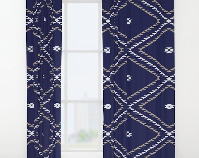"Window Curtains - Navajo Pattern - Navy Blue White Tan - 50"" x 84"" - Rod Pocket - Bedroom Decor Accessories Kids Nursery Playroom"