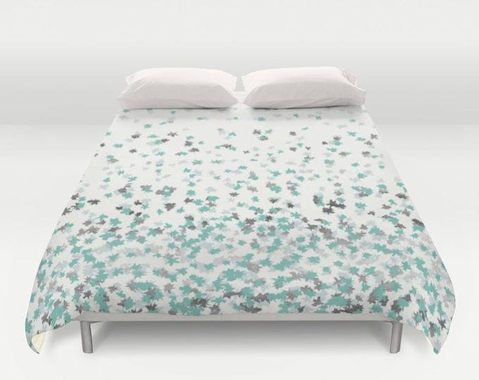 Duvet Cover or Comforter - Floating Confetti Dots - Mint Aqua Silver Cream White - Twin XL Full Queen or King - Bedroom Bed