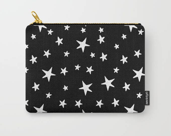 Zipper Pouch - Star Print - White on Black - 3 Sizes Available - Carry All Clutch Bag Cosmetic Case Makeup