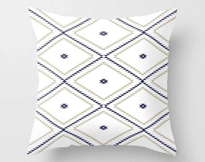 Throw Pillow - Navajo Pattern - Tan Navy Blue White - Square Cover with Insert - 16x16 18x18 20x20 24x24