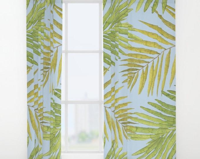 "Window Curtains - Palms Against the Sky - Green Yellow Light Blue - 50"" x 84"" - Rod Pocket - Bedroom Decor Accessories Kids Nursery Playroom"