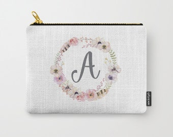 Zipper Pouch - Custom Initial - Boho Floral + Feathers Wreath - Blush Pink Coral Gray Green - Thee Sizes Available - Personalized Gift