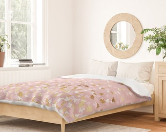 Duvet Cover or Comforter - Floating Confetti Dots - Gold Pink Blush - Twin XL Full Queen King - Microfiber or 100% Cotton - Shams Optional