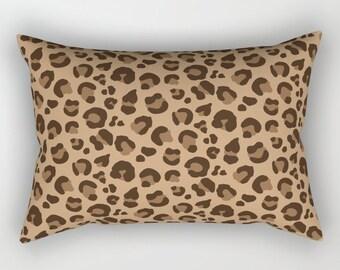 Lumbar Throw Pillow - Leopard Spots - Classic Brown Tan Camel - Rectangle Cover and Insert - 17x12 20x14 25.5x18 28x20