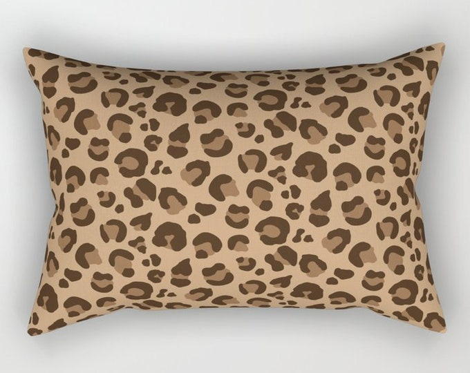 Lumbar Throw Pillow - Leopard Spots - Classic Brown Tan Camel - Rectangle Cover and Insert - 17x12 20x14 25.5x18 28x20