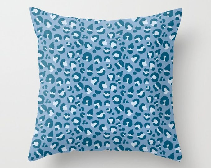 Throw Pillow - Leopard Spots - Blue Navy Teal Periwinkle - Square Cover with Insert - 16x16 18x18 20x20 24x24