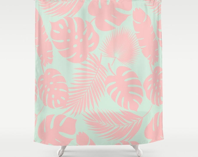 "Shower Curtain - Tropical Leaves - Blush on Aqua - 71""x74"" - Bath Curtain Bathroom Decor Accessories"