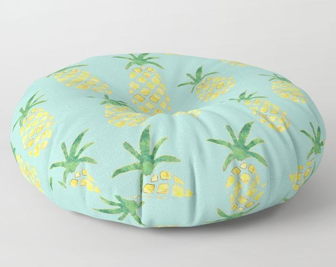 "Oversized Floor Pillow - Pineapple Print on Mint - Yellow Green and Gold - Round or Square - 26"" or 30"" - Throw Poof Pouf Cushion"
