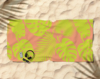 Oversized Beach Towel - Tropical Leaves - Lime on Coral - Summer Vacation Bachelorette Party Bridesmaids - Bundle with a Tote & Pouch!