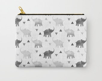 Zipper Pouch - Elephants & Triangles Print - Silver - 3 Sizes Available