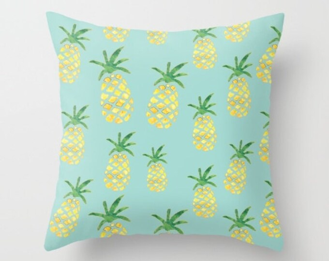 Throw Pillow - Pineapple Print on Mint - Yellow Green and Gold - Square Cover with Insert - 16x16 18x18 20x20 24x24
