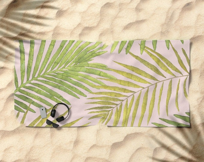 Oversized Beach Towel - Palms Against Blush - Pink Green - Summer Vacation Bachelorette Party Bridesmaids - Bundle with a Tote & Pouch!