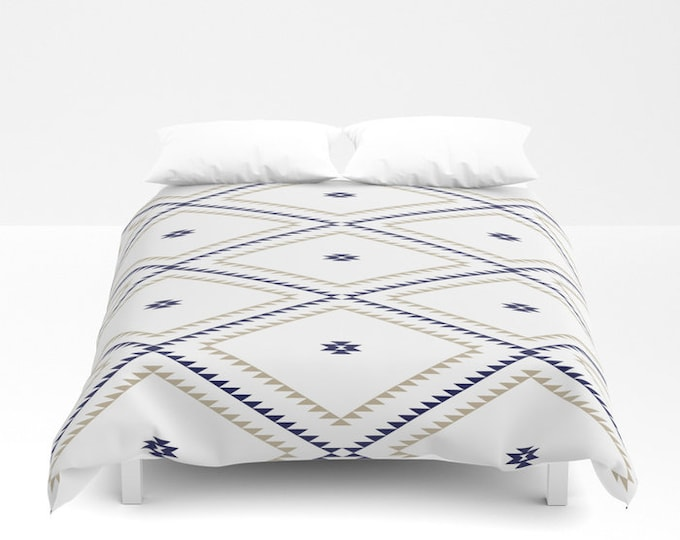 Duvet Cover or Comforter - Navajo Pattern - Tan Navy Blue White - Twin XL Full Queen or King - Bedroom Bed - Shams Optional