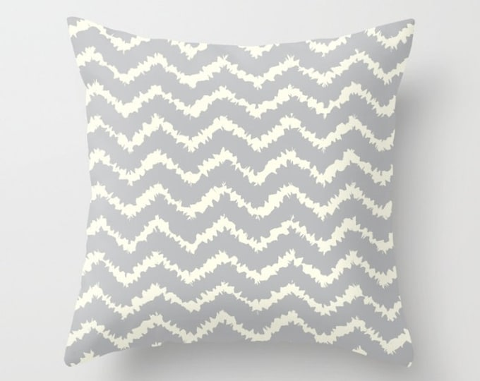 Throw Pillow - Ragged Chevron Stripes - Gray Black Blush or Taupe - Square Cover with Insert - 16x16 18x18 20x20 24x24