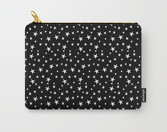 Zipper Pouch - Mini Star Print - White on Black - 3 Sizes Available - Cosmetics Make-up Bag Travel