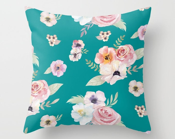 Throw Pillow - Watercolor Floral I - Teal Turquoise Pink - Square Cover with Insert - 16x16 18x18 20x20 24x24