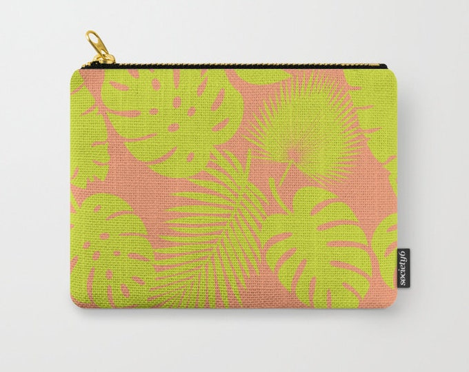 Zipper Pouch - Tropical Leaves - Lime on Coral - 3 Sizes Available - Carry All Clutch Bag Cosmetic Case Makeup
