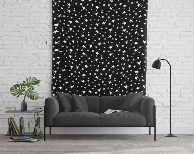 Wall Tapestry - Mini Star Print - White on Black - Small Medium or Large - Bedroom Decor Accessories Dorm Nursery Playroom