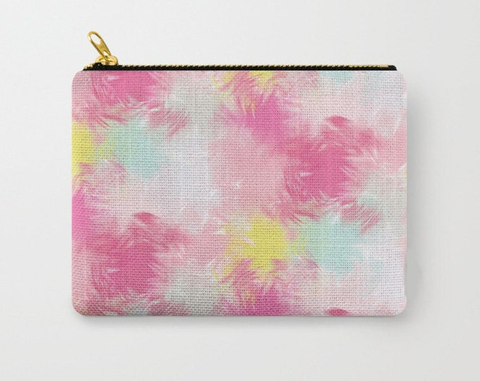 Zipper Pouch - Blurred Blend Pattern - Pink Yellow Mint Gray - 3 Sizes Available