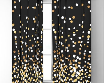 "Window Curtains - Floating Dots - Gold White Black - 50"" x 84"" or 96"" Length - Blackout or Sheer - Rod Pocket - Bedroom Nursery Playroom"